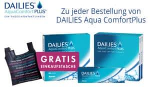 DAILIES AquaComfortPlus mit gratis Einkaufstasche nur solange der Vorrat reicht!