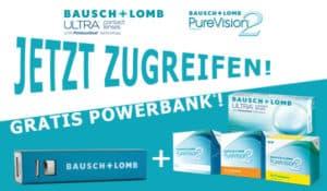 Gratis Powerbank zu Bausch+Lomb ULTRA und PureVision2 im Linsenplatz.de-Onlineshop!