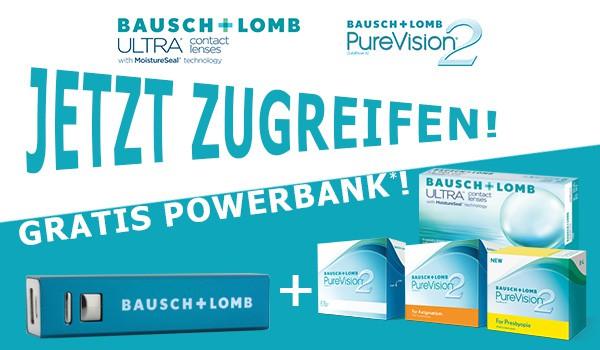 gratis powerbank zu bausch lomb ultra und purevision2 im. Black Bedroom Furniture Sets. Home Design Ideas