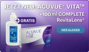 Das perfekte Duo! ACUVUE® Vita und Complete RevitaLens® jetzt testen 100ml gratis im Linsenplatz.de- Onlineshop!