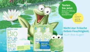 Biotrue: Nicht nur Frösche lieben Feuchtigkeit, auch Ihre Augen! Jetzt im Linsenplatz.de Onlineshop!